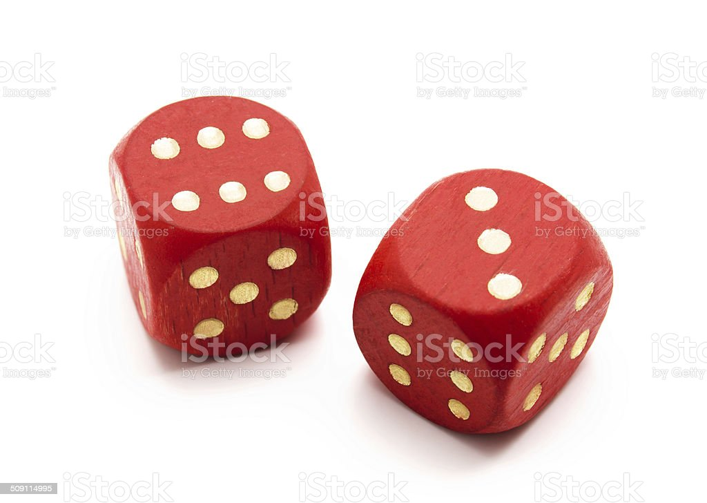 Red wooden dice stock photo