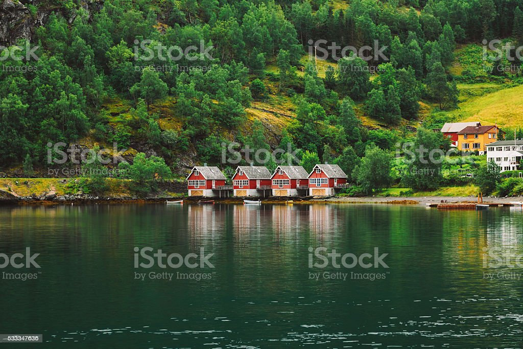 Red Wooden Docks In Town Of Flam, Western Side , Norway stock photo