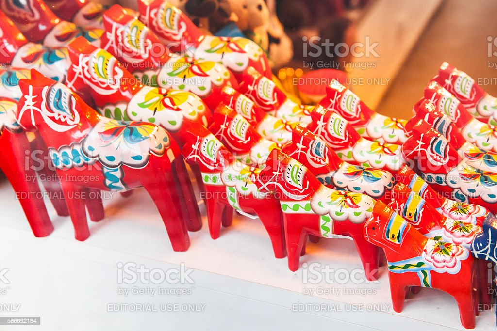 Red wooden horses, Swedish souvenir stock photo