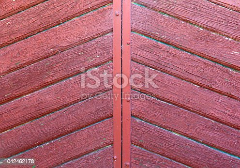 1178501072istockphoto Red wooden pannels backgroubg. Retro gate background. 1042462178