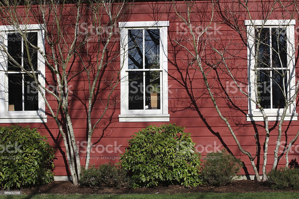 Red wooden schoolhouse. royalty-free stock photo