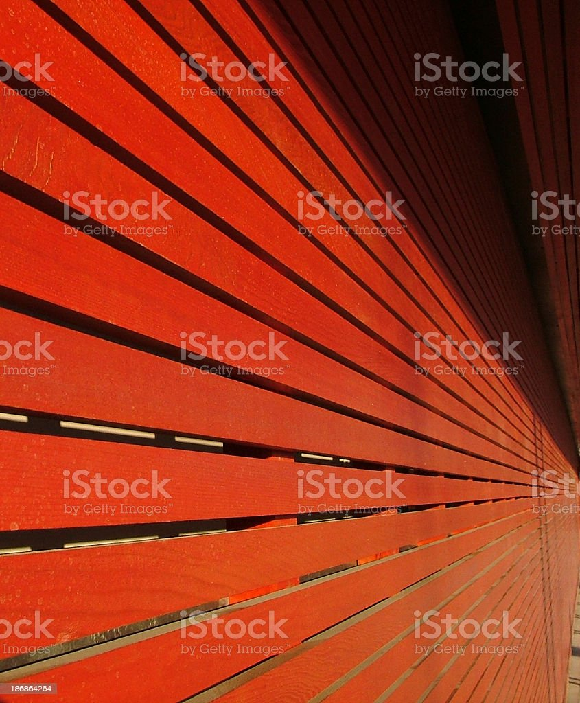 Red Wooden Slats With Perspective stock photo