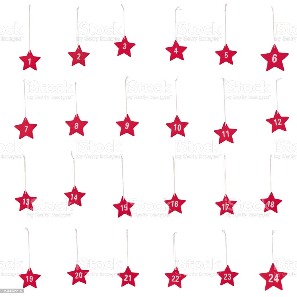Red wooden stars numbers 1 to 24 string Christmas isolated – Foto
