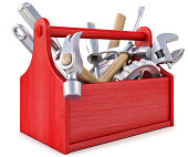 istock Red wooden toolbox with tools on white background 177436977