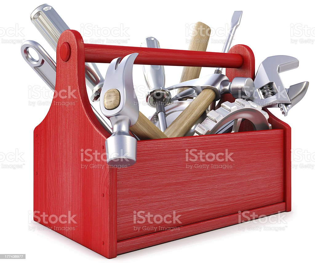 Red wooden toolbox with tools on white background stock photo