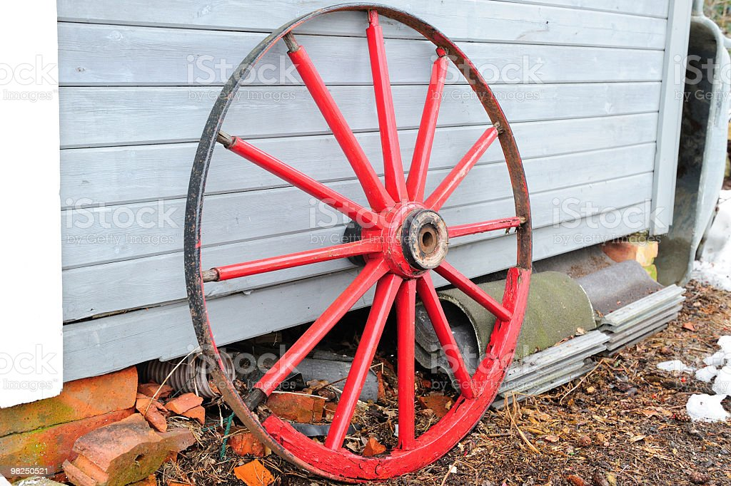 Red wooden traditional wheel royalty-free stock photo