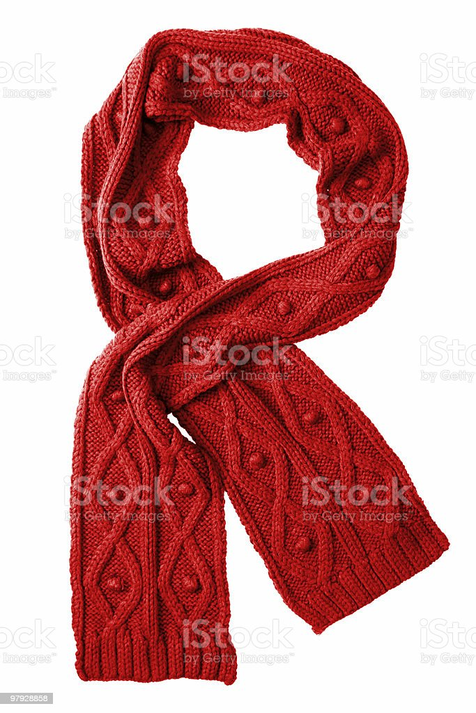 Red wool scarf on a white background stock photo
