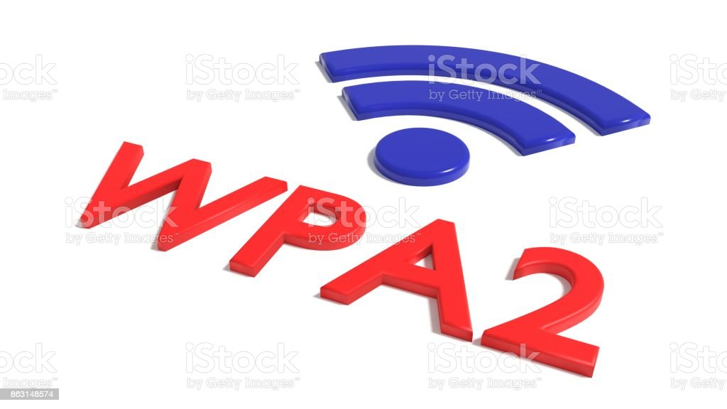 Red word WPA 2 network encrytion and a blue wifi symbol on white cybersecurity concept stock photo