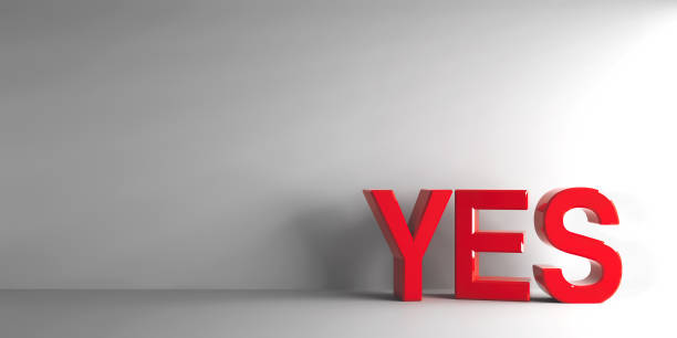 Red word YES Red word YES on grey background, three-dimensional rendering, 3D illustration yes single word stock pictures, royalty-free photos & images