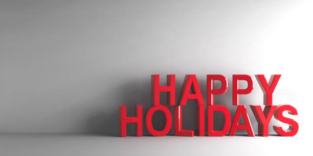 Red words Happy Holidays stock photo