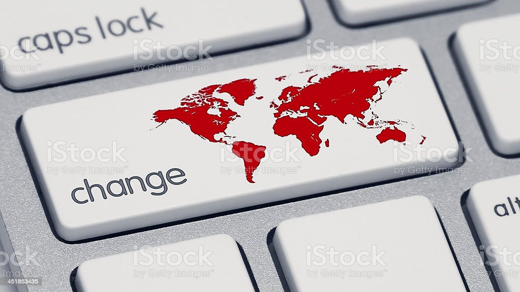 Red World Change Keyboard Button stock photo
