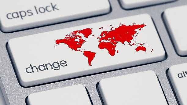 "Red World Change Keyboard Button An extreme close-up of a keyboard, focused on the shift key which now says ""change"" and has a red map of the world. impact stock pictures, royalty-free photos & images"