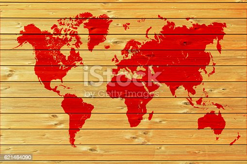 Red World Map On Wood Stock Photo & More Pictures of Africa ...