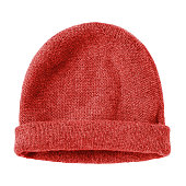 istock Red  worm winter woolen hat cap flat isolated on white 825272402