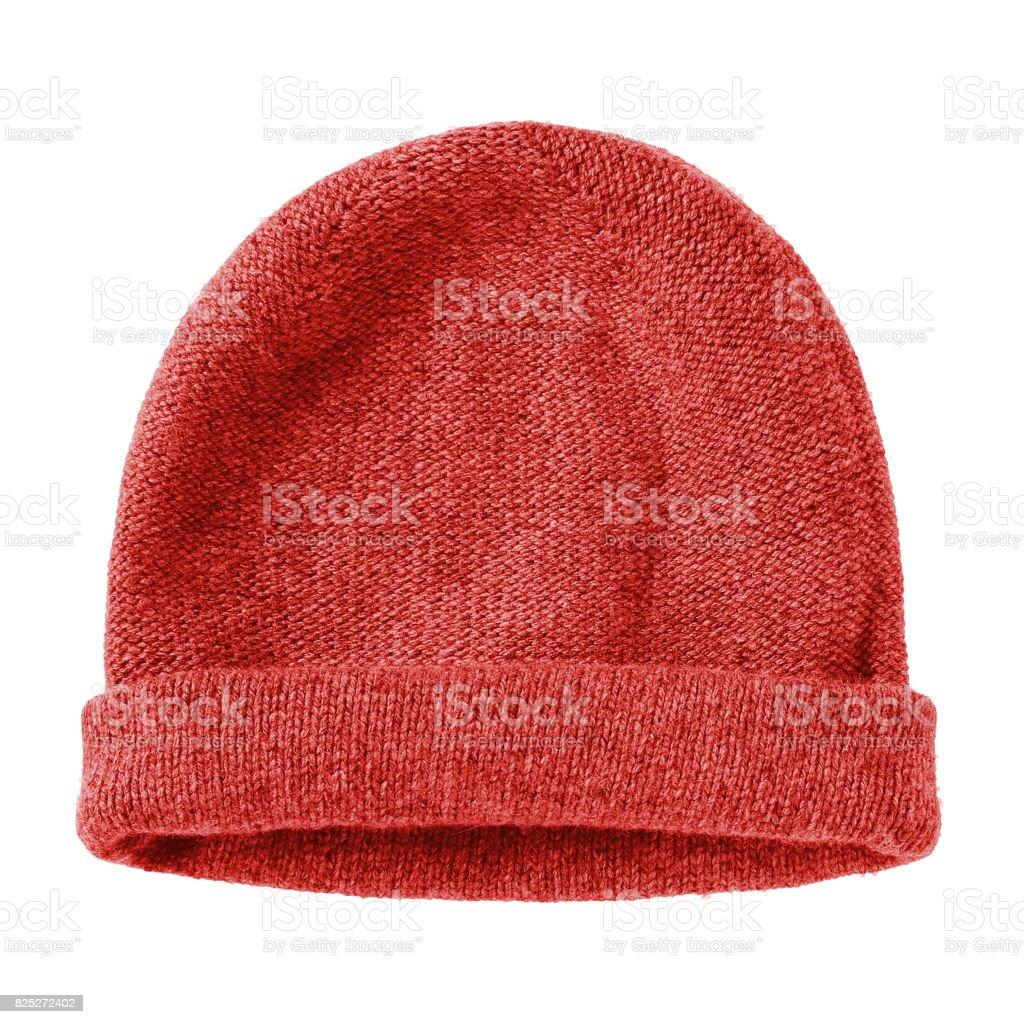 Ver rouge hiver laine chapeau bonnet plat isolé sur blanc - Photo