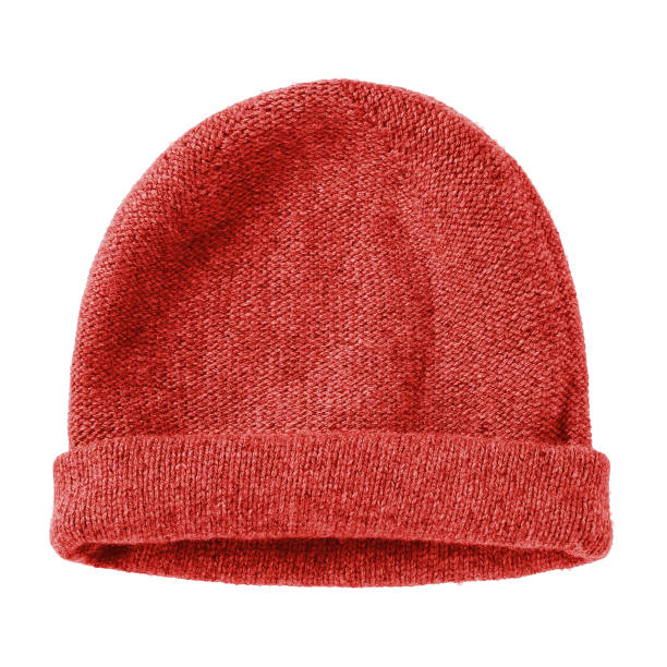 Red  worm winter woolen hat cap flat isolated on white Red  worm winter woolen hat cap flat isolated on white knit hat stock pictures, royalty-free photos & images