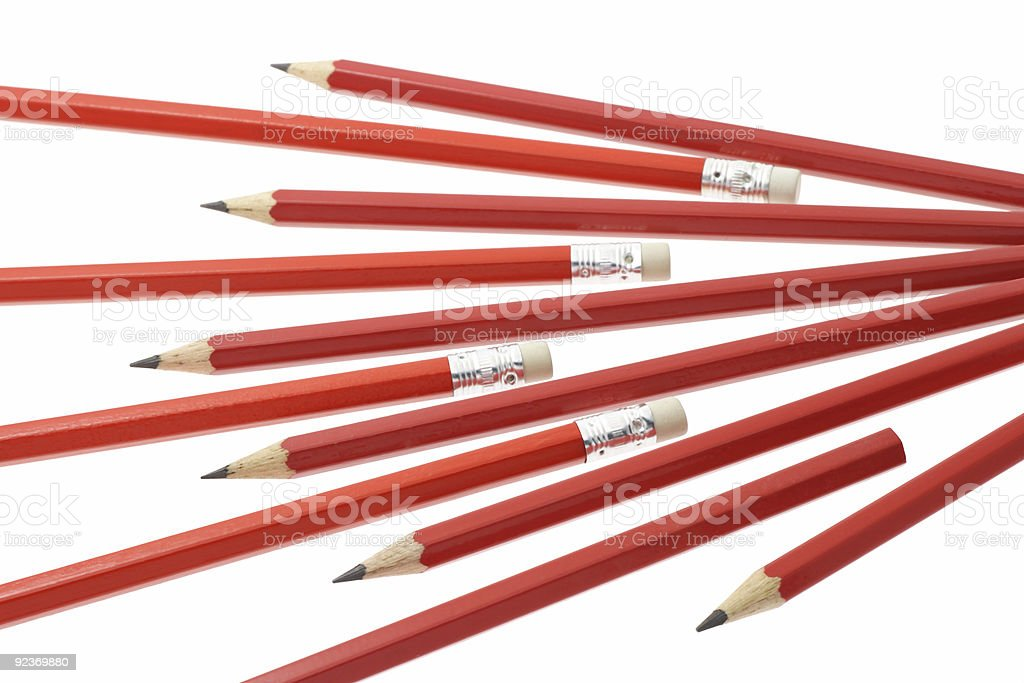Red writing pencils royalty-free stock photo