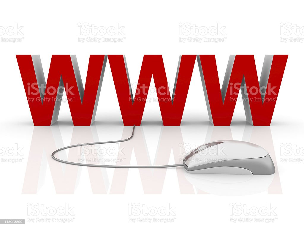 Red WWW with a white computer mouse royalty-free stock photo