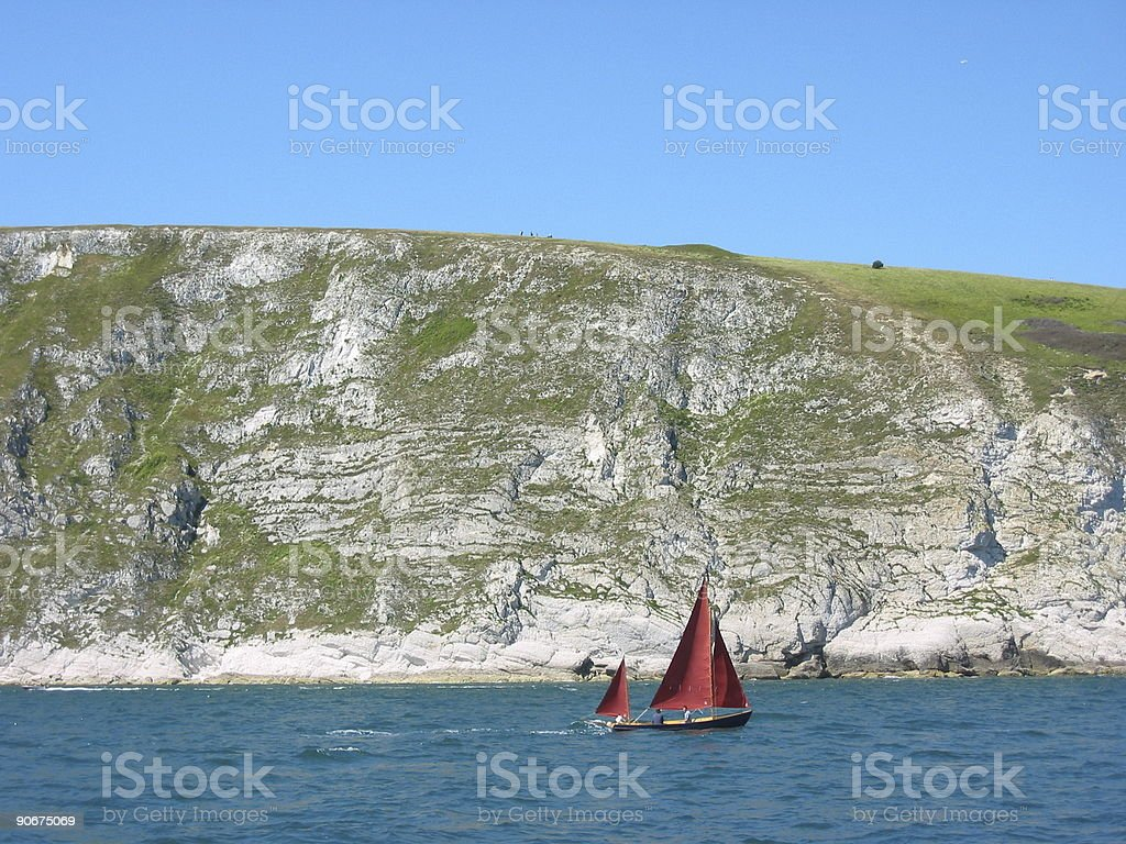 Red Yacht royalty-free stock photo