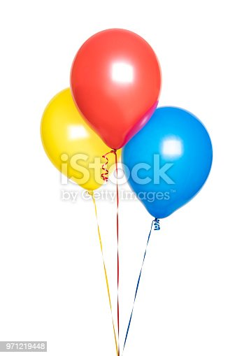 A red, yellow and blue balloon isolated on a white background.