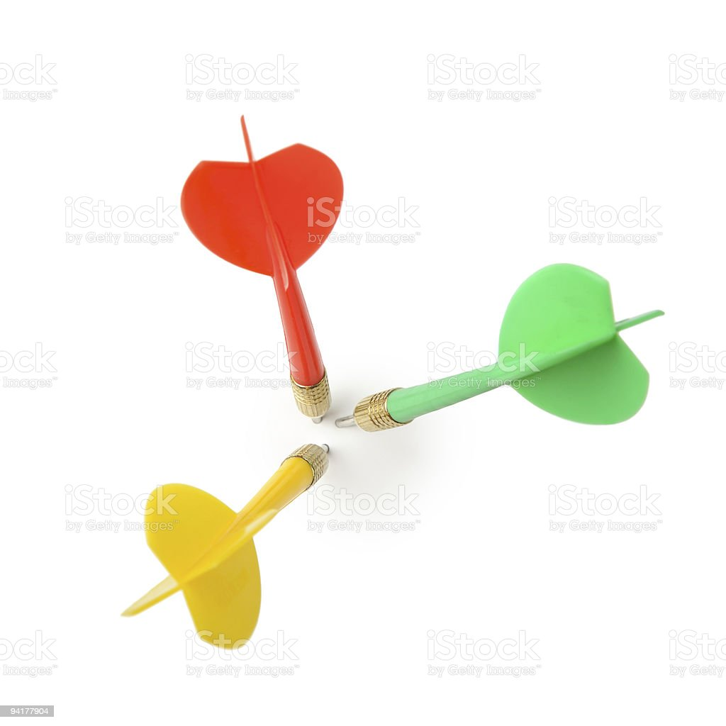 Red yellow and green game darts no bulls eye stock photo