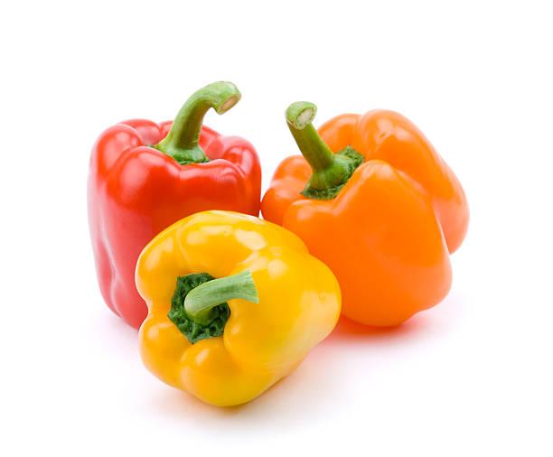 czerwony, żółty i pomarańczowy papryka - papryka słodka zdjęcia i obrazy z banku zdjęć