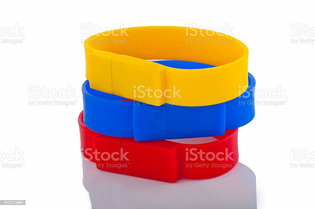 Red, Yellow, Blue Rubber bracelet stock photo