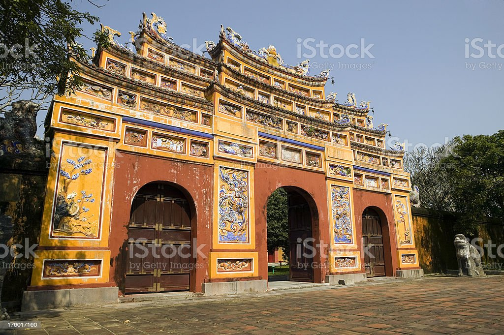 red yellow doorway gateway citadel forbidden purple city hue vietnam royalty-free stock photo