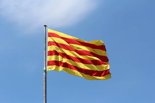Red Yellow Flag Background Red Yellow Flag Background catalonia stock pictures, royalty-free photos & images