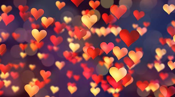 red & yellow hearts confetti - meerdere lagen effect stockfoto's en -beelden