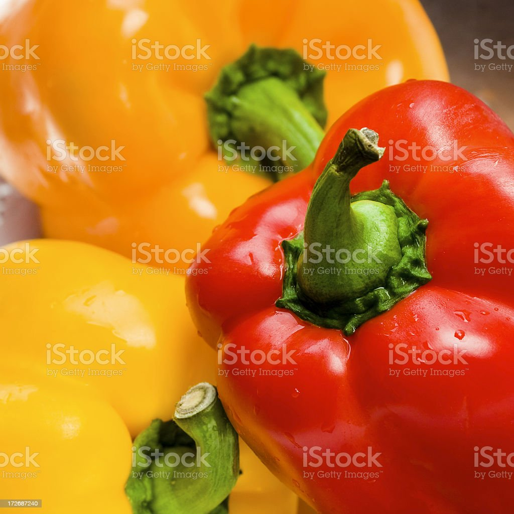 Red Yellow Orange Bell Peppers royalty-free stock photo