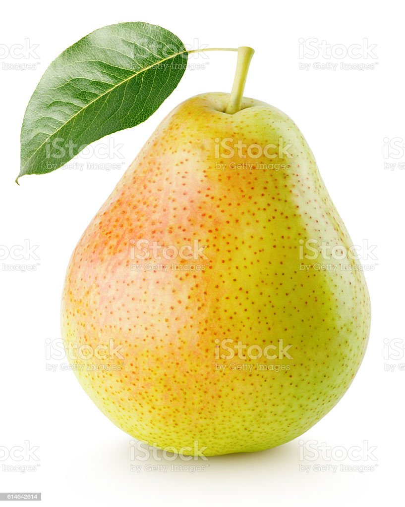 Red yellow pear fruit with leaf isolated on white – Foto