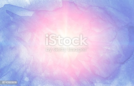 istock Red yellow sun star on Blue soft  watercolor hand-drawn background for text design, web. Abstract cold and warm color brush painting paper grain texture illustration element for web wallpaper 874390658