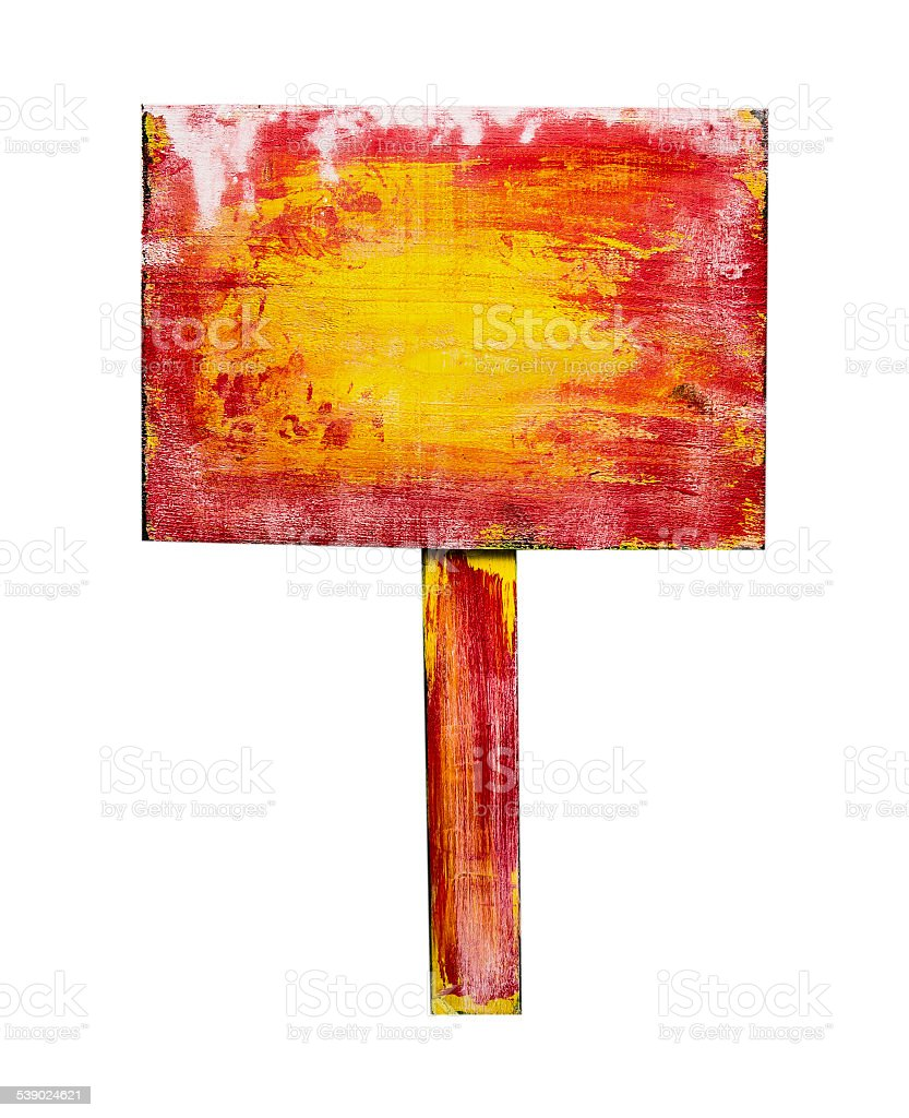 Red yellow wooden sign, isolated on white background stock photo