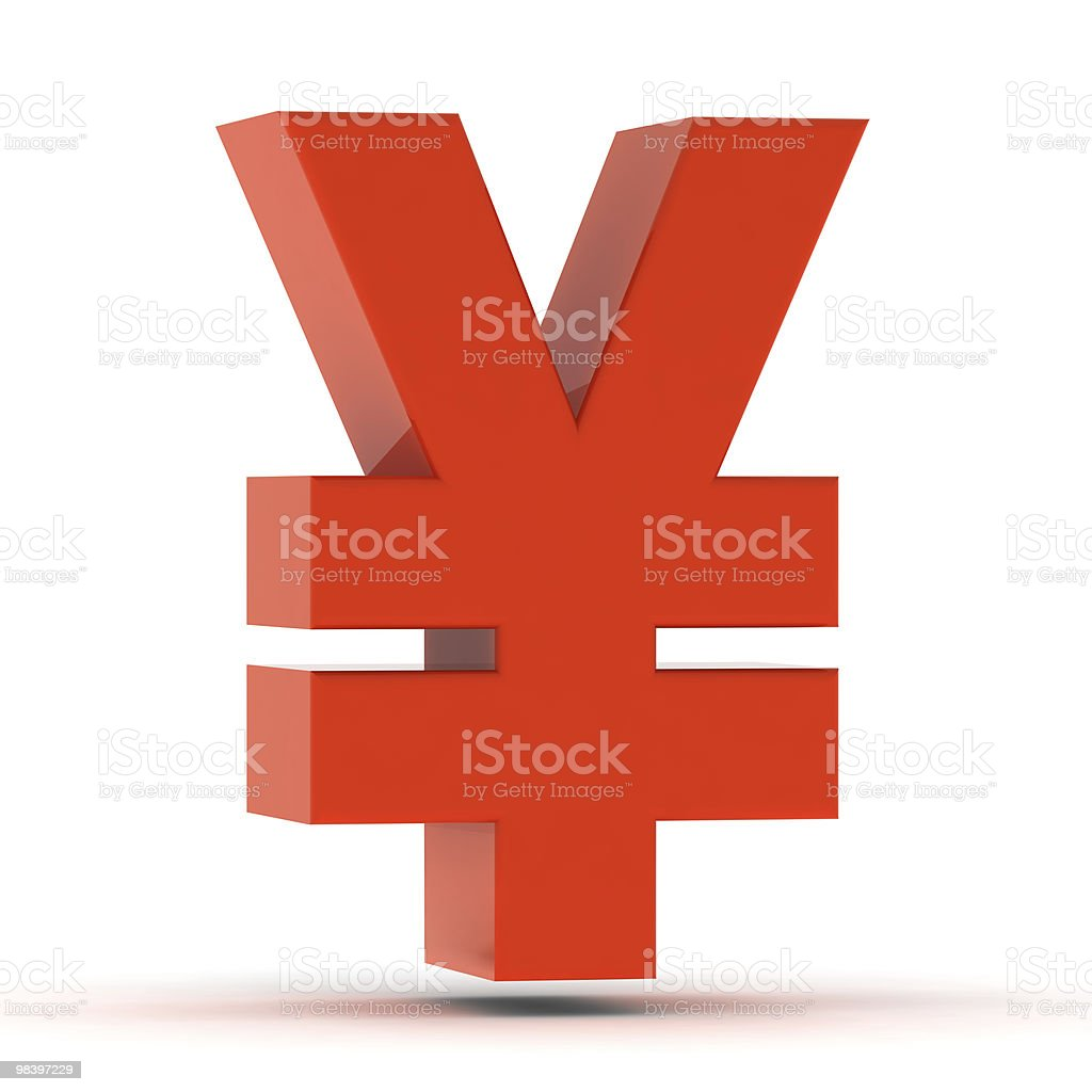 Red Yen Sign royalty-free stock photo
