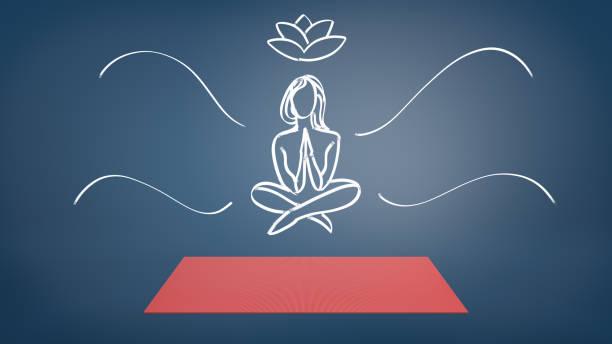 eine rote yogamatte auf blauem hintergrund mit einer kreide gezeichnete frau in einer lotus pose schwebt es - lotus zeichnung stock-fotos und bilder