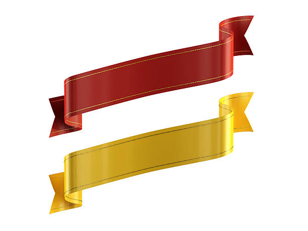 red_gold_ribbons_single_line_reversed_isolated - award ribbon stock photos and pictures