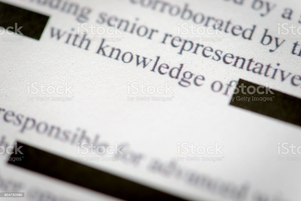 Redacted Document stock photo