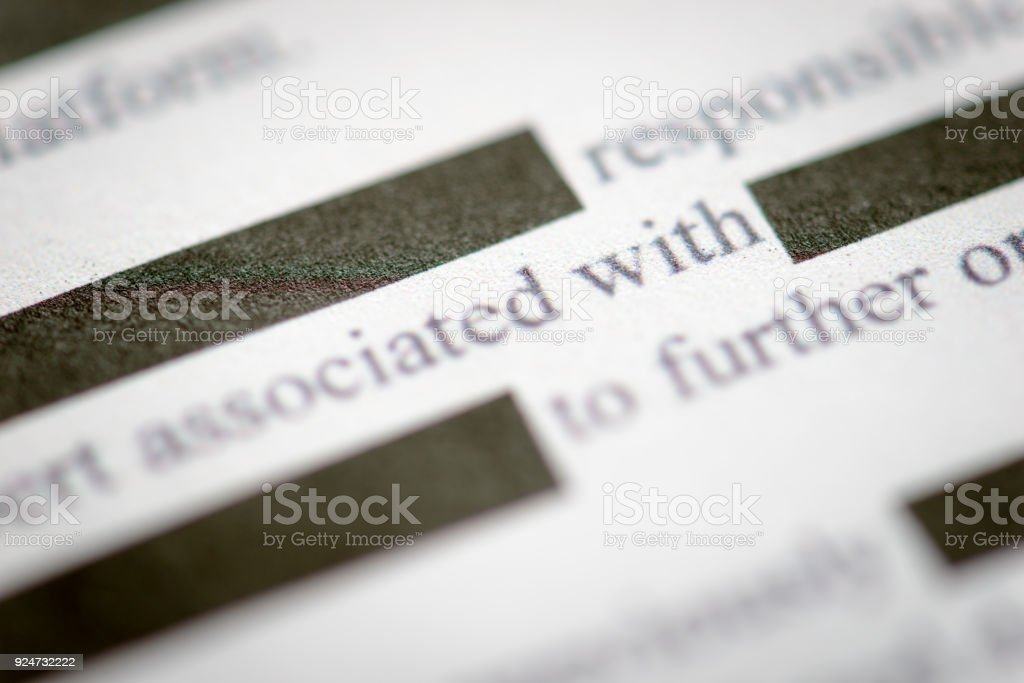 Redacted Document stock photo