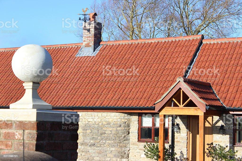 Red Brick Gate Post Stone Ball Finial Pier Cap Barn