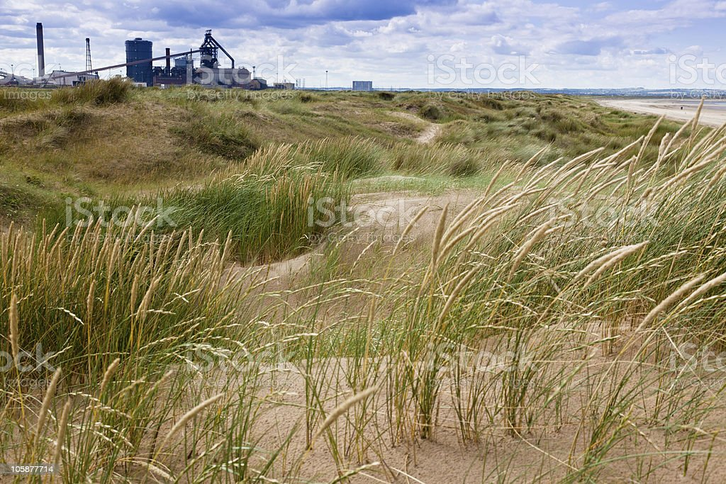 Redcar steel mill viewed from the sand dunes stock photo