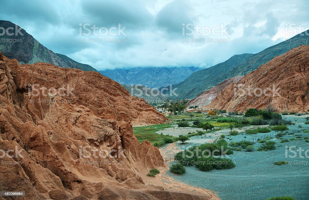 Red-colored mountain in Purmamarca stock photo