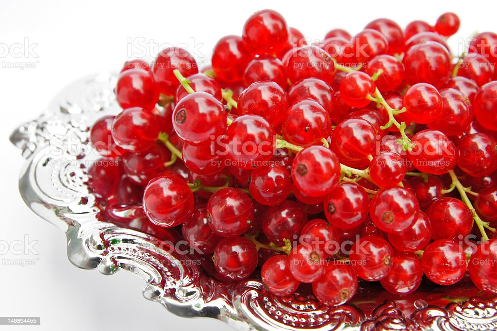 Redcurrants on a silver platter royalty-free stock photo