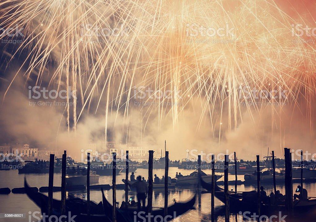 Redeemer festival of fireworks stock photo