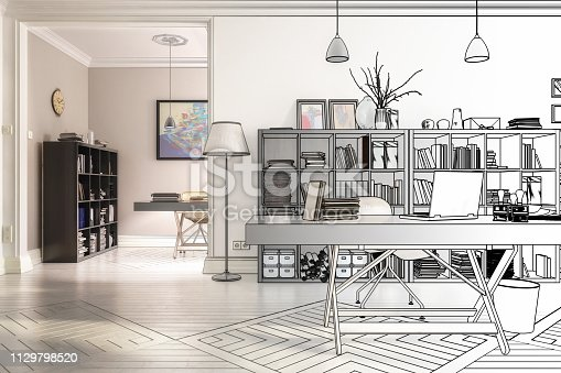 istock Redesign in an office (drawing) - 3d illustration 1129798520