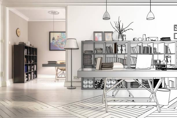 neugestaltung im büro (zeichnung) - 3d illustration - büro zukunft und niemand stock-fotos und bilder