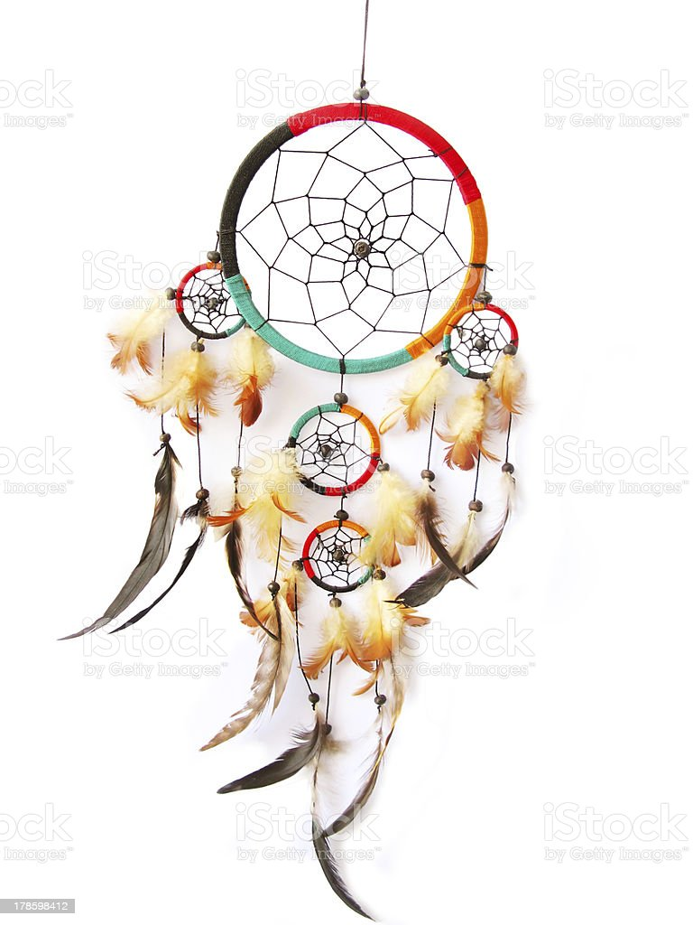Red,green and black dreamcatcher isolated in white. stock photo