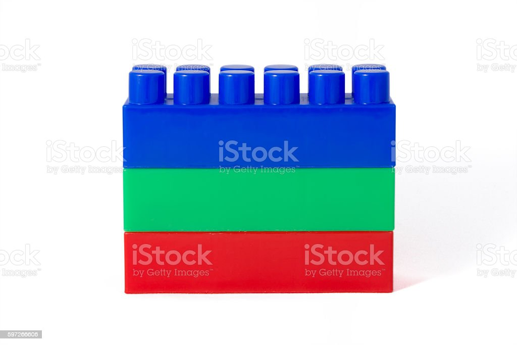 red-green-blue tower of children's designer cubes Lizenzfreies stock-foto