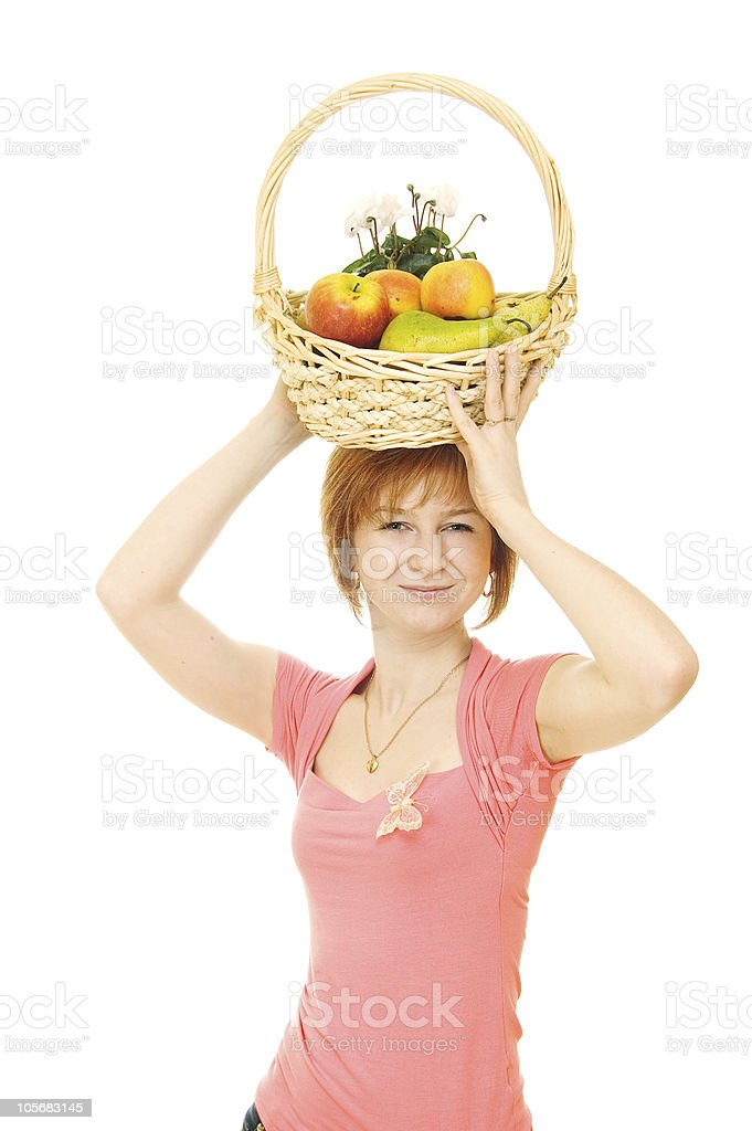 Red-haired caucasian woman with fruits royalty-free stock photo