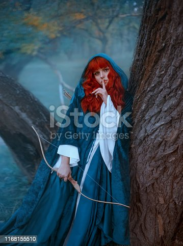 istock red-haired girl in blue cloak standing by tree and looking directly at camera 1168155510